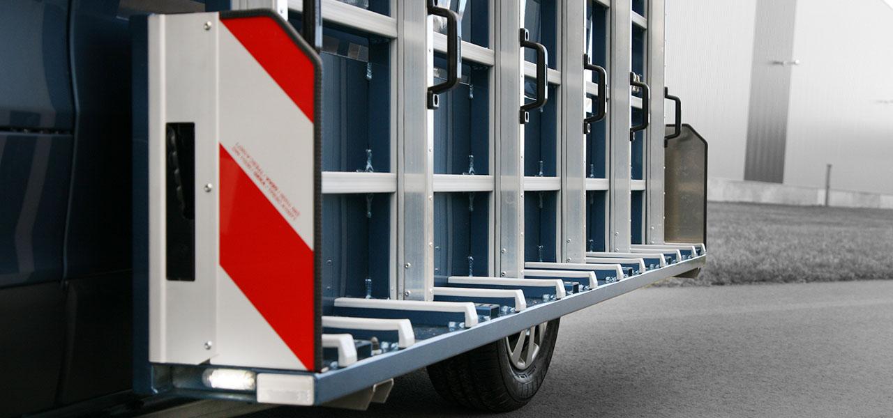 Glasreff-transportgestelle-fahrzeug