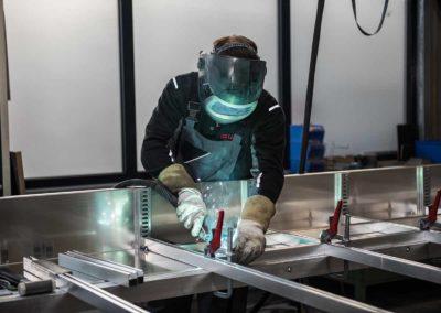 Gelast glasresteel voor vervoer van glas